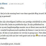 Reactie Blogaward 2