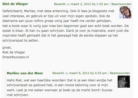Reactie blog award
