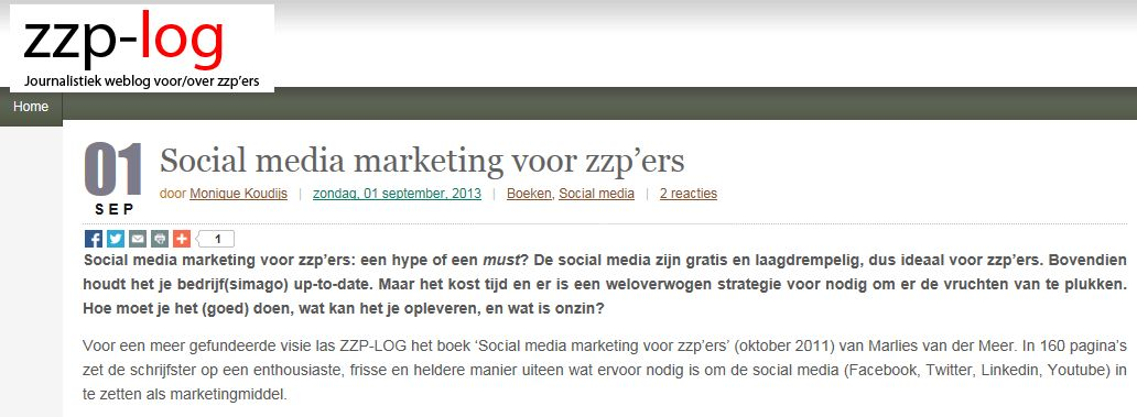 zzp-log recensie social media