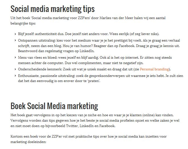 zzp social media marketing recensie